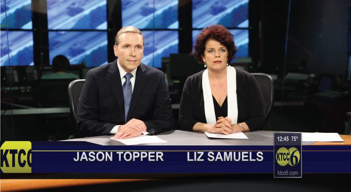 Dwight Turner as Jason Topper and Alison England as Liz Samuels in The Gestapo vs. Granny